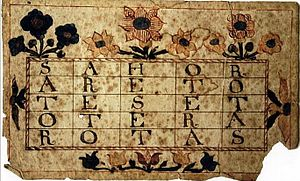Pow-Wows; or, Long Lost Friend - An eighteenth century Pennsylvania Dutch variant of the Sator Square amulet.  Use of the Sator Square is one of the spells contained in The Long Lost Friend.