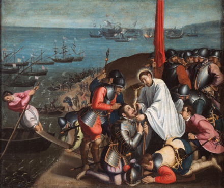 Portuguese troops in Malacca fighting the Acehnese, painting by Andre Reinoso Saint Francis Xavier Inspiring Portuguese Troops.png
