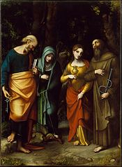Saints Peter, Martha, Mary Magdalen, and Leonard