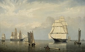 "Studding sail - ""Salem Harbor"" by Fitz Hugh Lane"