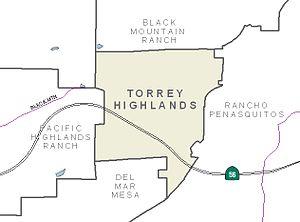 Torrey Highlands, San Diego - Image: San Diego Map Torrey Highlands