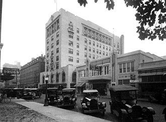 Beacham Theatre - Beacham Theatre and San Juan Hotel circa 1923. Marquee:  The Second Orlando Picture The Burned Crucifix