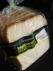 A commercially produced sandwich bread
