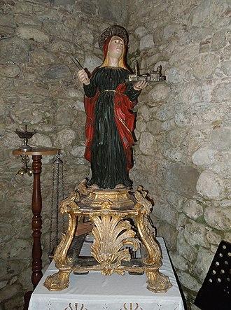 Symphorosa - Wooden statue of Saint Symphorosa, in the church of Sant'Antonio Abate di Tossicia, Italy