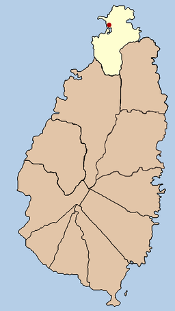 Gros Islets beliggenhed på Saint Lucia med distriktet (quarter) i lysere farve