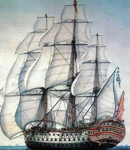 Nuestra Senora de la Santisima Trinidad . Philip V and Charles III made the navy a high priority of their governments Santisima Trinidad.jpg