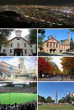 Clockwise from top: Mount Moiwa night view, Sapporo Clock Tower, Sapporo Beer Museum, Sapporo Station, Hokkaido University, Sapporo Dome, and Sapporo TV Tower seen from Odori Park