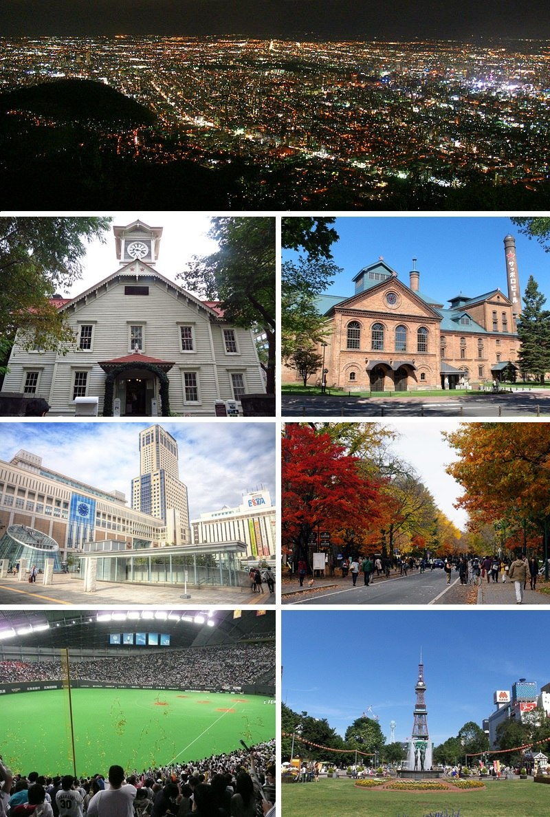 Left to right, top to bottom: Mount Moiwa night view, Sapporo Clock Tower, Sapporo Beer Museum, Sapporo Station, Hokkaido University, Sapporo Dome, and Sapporo TV Tower seen from Odori Park