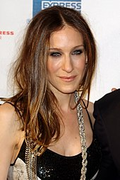 Sarah Jessica Parker in black dress and flashy diamond necklace