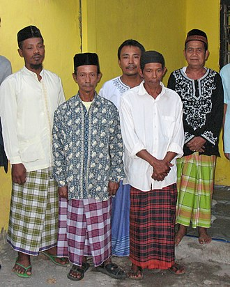 Sarong - Javanese men often wear sarongs during religious or casual occasions. Surabaya, East Java, Indonesia.