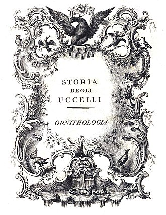 Saverio Manetti - Title page of volume 4 Storia degli Ucelli