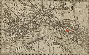 Savoy Palace - The arrow added to this 1593 map of Westminster indicates the Savoy.