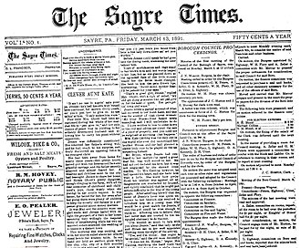 Morning Times -  The first edition of the Sayre Times, March 13, 1891