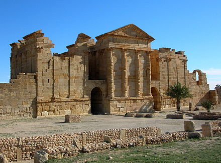 Back side of the Roman temples of Sbeitla, Tunisia