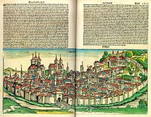 Opening from the Nuremberg Chronicle , showing Erfurt Schedel erfurt.jpg