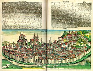 Hartmann Schedel - Opening from the Nuremberg Chronicle, showing Erfurt