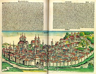 Erfurt - Erfurt, woodcut from the Nuremberg Chronicle, 1493