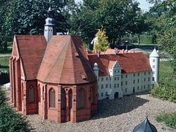 Model of Dargun Abbey and Palace prior to destruction in WW2