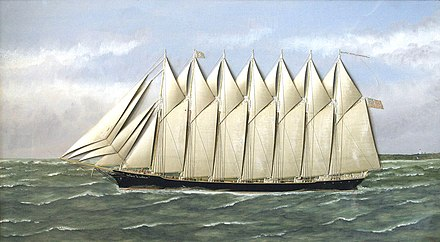 Schooner Thomas W. Lawson, by Thomas Willis, oil on Canvas with Silk Embroidery Schooner Thomas W. Lawson, by Thomas Willis.jpg