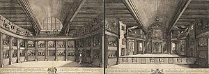 Schouwburg of Van Campen - Engravure of the Playhouse Van Campen in 1658 by Salomon Savery