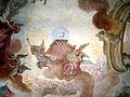 Schussenried Kloster Bibliothekssaal Gewölbefresko Scheitel Mitte Jüngstes Gericht Apokalyptisches Lamm.jpg