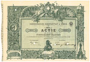 Credit Suisse - Share of the Schweizerische Kreditanstalt in Zurich, issued 31. May 1898