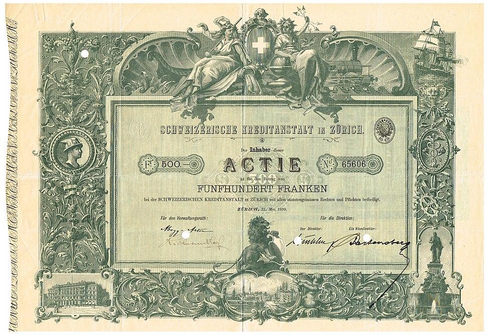 Schweizerische Kreditanstalt 1898