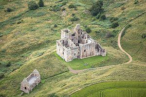 Crichton Castle - Aerial view of Crichton Castle
