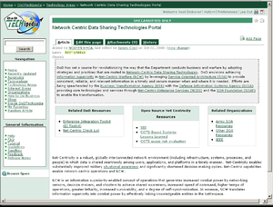 DoDTechipedia - Sample screenshot of the DoDTechipedia interface (2009)
