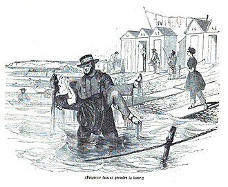 Sea bathing - Sea bathing at Boulogne in the 1840s