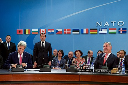 NATO foreign ministers and Montenegro's Prime Minister Milo Đukanović signed a protocol at the NATO Council in 2016