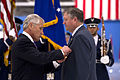 Secretary of Defense Chuck Hagel, left, presents Secretary of the Air Force Michael B. Donley with the Department of Defense Medal for Distinguished Public Service during his farewell ceremony at Joint Base And 130621-D-BW835-424.jpg