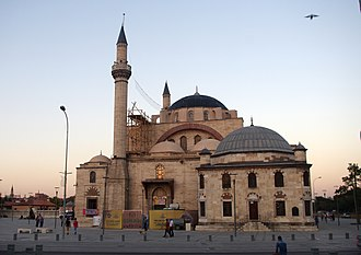Selimiye Mosque, Konya - The domed library building attached to the mosque on the right is a later addition