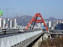 Seogang Bridge and Bukhansan from Bamseom.jpg