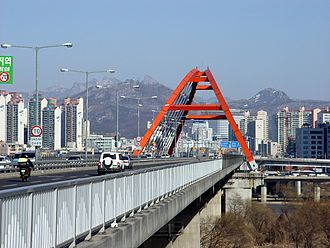 Seogang Bridge - Image: Seogang Bridge and Bukhansan from Bamseom
