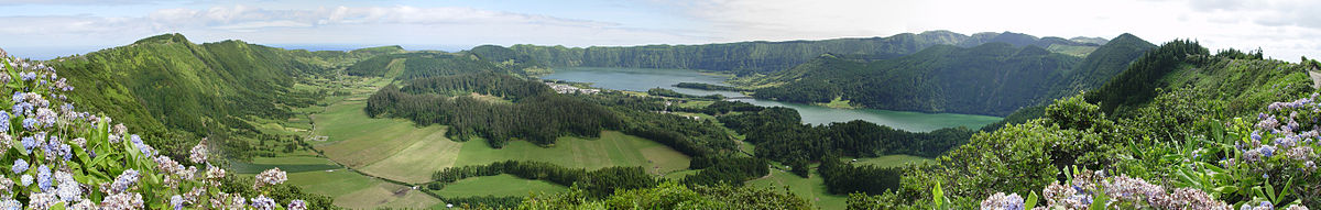Panorama of the Sete Cidades Massif, showing the Green and Blue Lakes of the civil parish Sete Cidades
