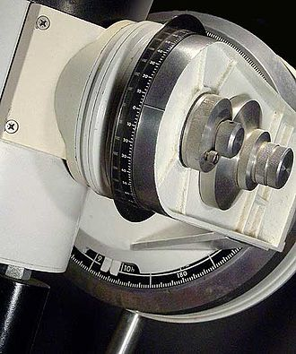 Setting circles - Setting circles on an equatorial fork-mounted telescope