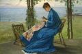 Sewing on the Veranda ca1875 byFrankHillSmith.png