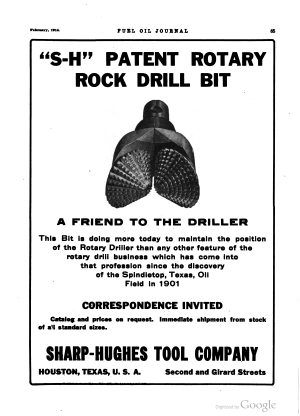 Hughes Tool Company - A February 1914 advertisement for the Sharp-Hughes Tool Company in Fuel Oil Journal.