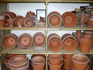 English: Shelves of flower pots in Darwin's la...