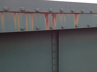 Corrosion - Side view Crow Hall Railway Bridge north of Preston Lancs corroding – general