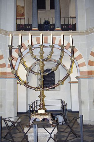 Mathilde, Abbess of Essen - The Seven-armed candelabrum which Mathilde donated for the maintenance of her memory. This picture, taken in 2010, shows the candelabrum lit up in her memory on the 999th anniversary of her death.