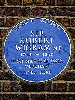 Sir robert wigram mp 1744 1830 high sheriff of essex merchant lived here