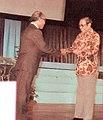 Sjamsoe Soegito delivering jury decision to Ali Moertopo, Festival Film Indonesia (1982), 1983, p67.jpg