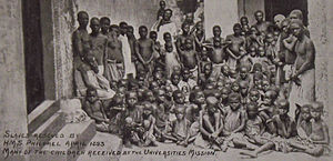 HMS Philomel (1890) - Slaves rescued by HMS 'Philomel', April 1893, Many of the children received by the Universities Mission.