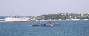 Small anti-submarine ship MPK-217 Еysk (project 1124M), hull number 054 in Sevastopol bay.jpg