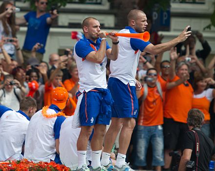 Wesley Sneijder blowing on a vuvuzela