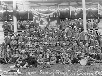 Snowball marches - 'Men from Snowy River' at Cooma