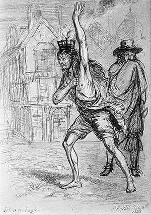 Solomon Eccles - Solomon Eagle striding through plague ridden London with burning coals on his head, trying to fumigate the air. Chalk drawing by Edward Matthew Ward, 1848