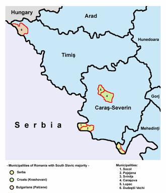 Krashovani - Krashovani-inhabited areas within the Caraş-Severin County (light green).